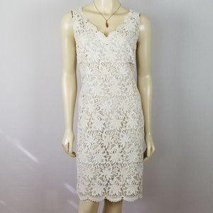 Ann Taylor ivory white lace sleeveless dress 10